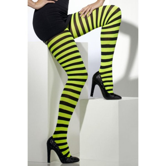 Yellow & Black Striped Tights