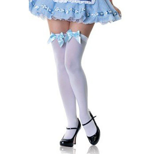 White Stockings with Blue Bow