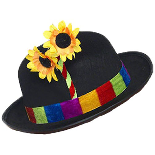 Clown Bowler Hat With Flower