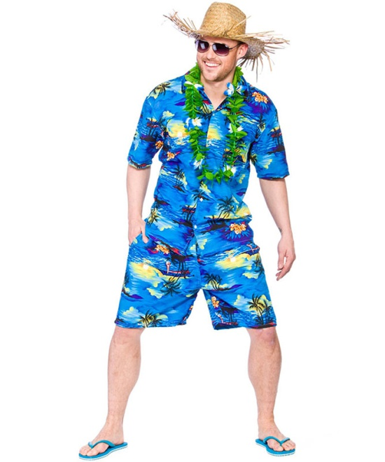 Hawaiian Blue Palm Trees Costume