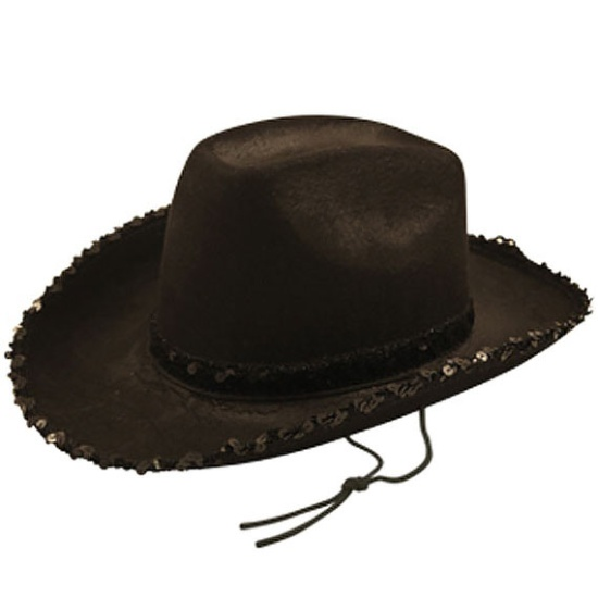 Black Cowboy Hat with Sequins