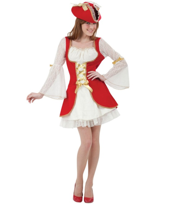 Red Pirate Woman Costume