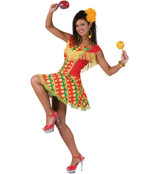 Mexican Lady Chilli Print Dress