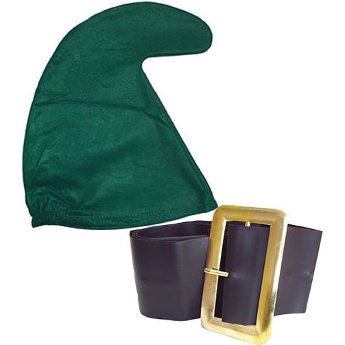 Green Smurf Hat And Belt Set