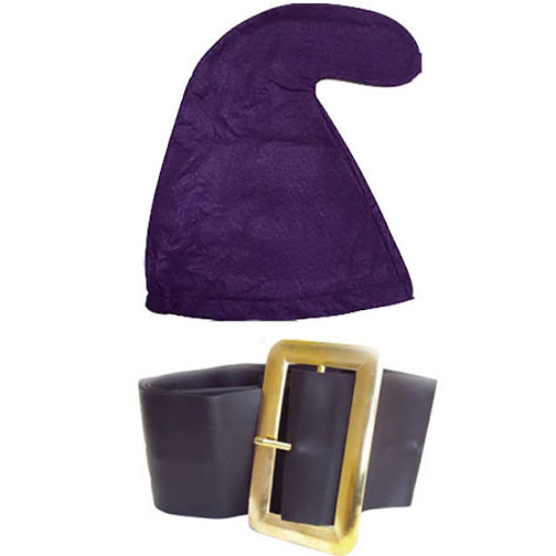 Purple Smurf Hat And Belt Set