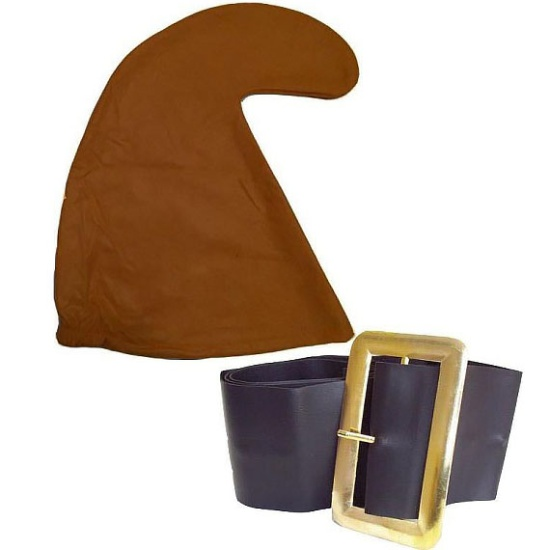Brown Smurf Hat and Belt Set