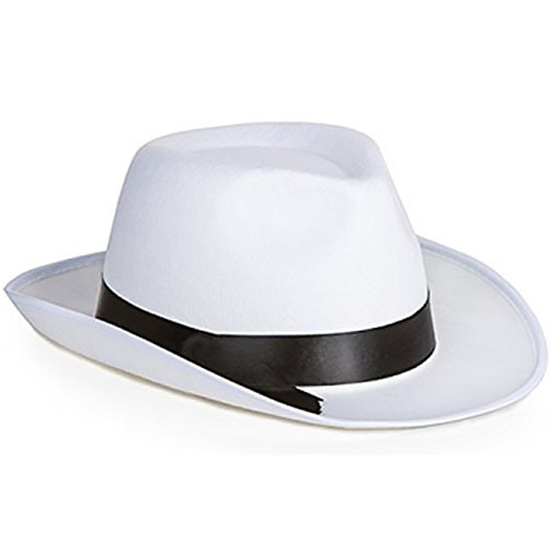 White Gangster Fedora Hat