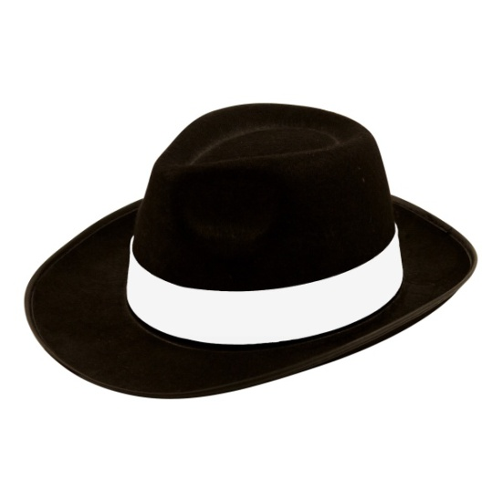Black Gangster Fedora Hat