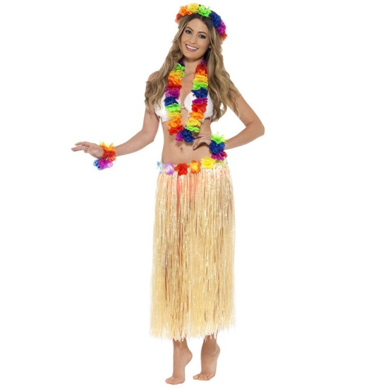 Hawaiian Skirt and Lei Set