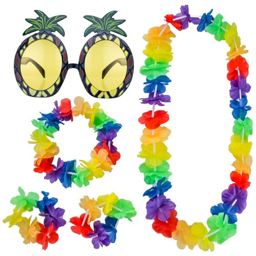 Lei Set And Pineapple Glasses