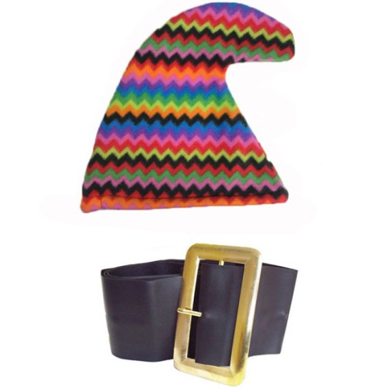 Rainbow Smurf Hat And Belt Set