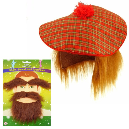 Scottish Hat With Beard & Eyebrows