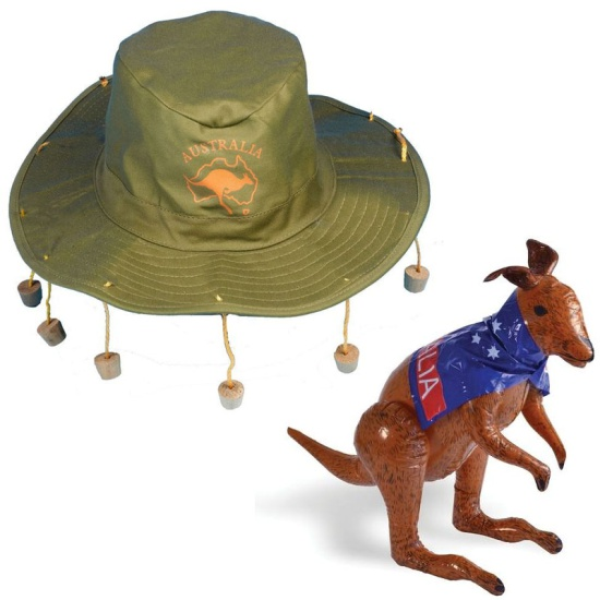 Australia Hat And Kangaroo