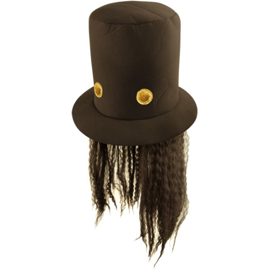 Black Top Hat With Hair
