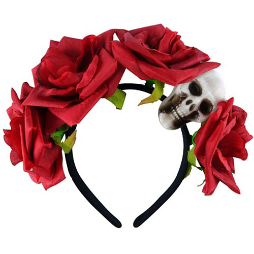Red Rose Skull Headband
