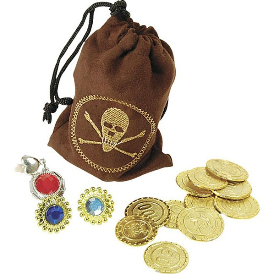 Pirate Pouch with Coins & Jewellery