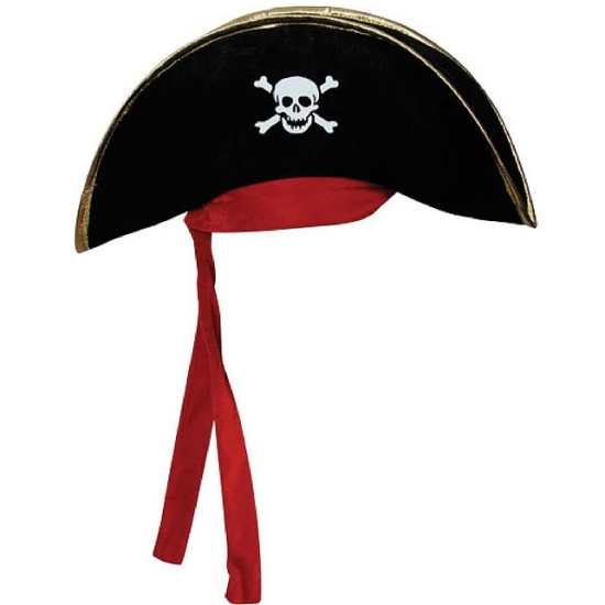 Pirate Captain Hat with Red Bandana