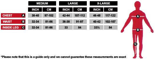 Mens Costume Size Chart