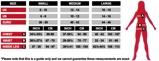 Womens Costume Size Chart